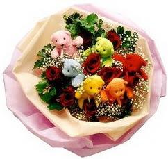 6 adet renkli ayicik ve yapay gül buketi  Anneler günü hediye ayıcık buketi