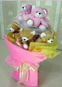 11 adet renkli pelus ayicik buketi  Ayı buketi sevgiliye hediye