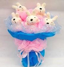 5 adet 4 adet te hediye tavsan buketi  Ayı buketi teddy buket