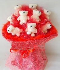 9 adet teddy bear buket  Farklı ilginç hediye seçenekleri